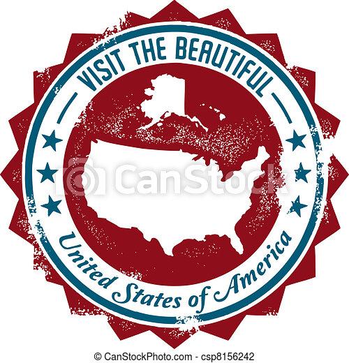 Vintage USA Travel Stamp - csp8156242
