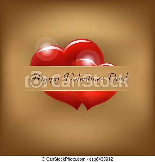 Vintage Valentine Background With Hearts - csp8433912