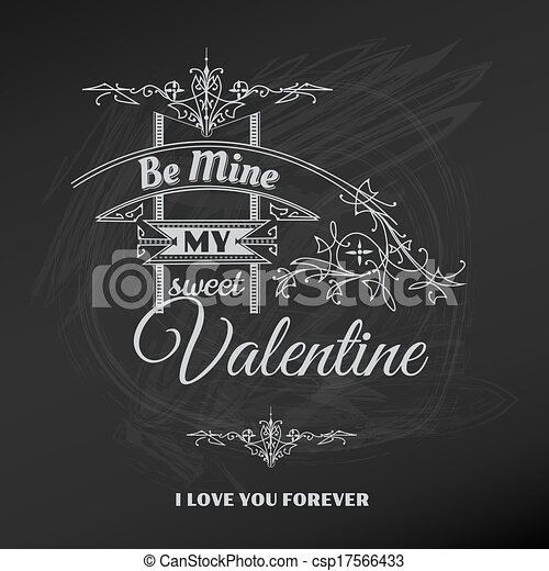 Vintage Valentine's Day Card - for scrapbook and design in vector - csp17566433