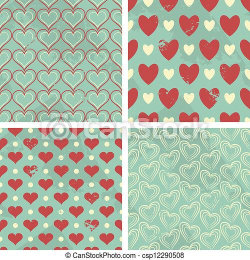 Vintage Valentine's Day Patterns - csp12290508