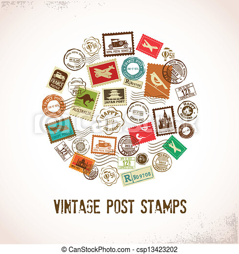Vintage vector background with rubber stamps - csp13423202