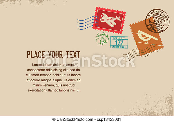 Vintage vector envelope with rubber stamps - csp13423081