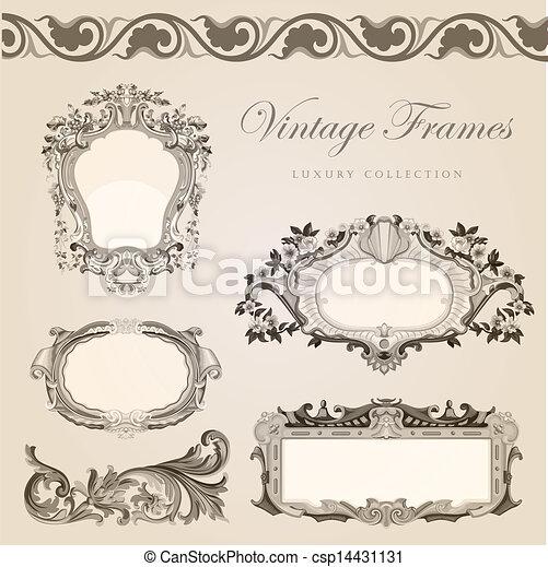 Vintage vector frames border retro wedding invitation vectors vintage vector frames border retro wedding invitation template stopboris Choice Image