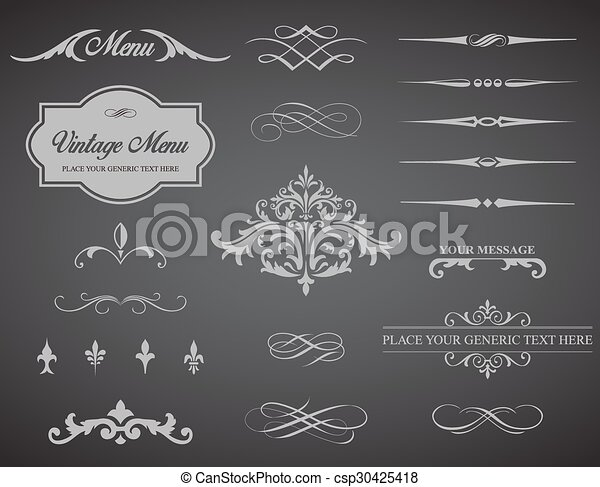 Vintage Vector Label Page Dividers and Borders - csp30425418