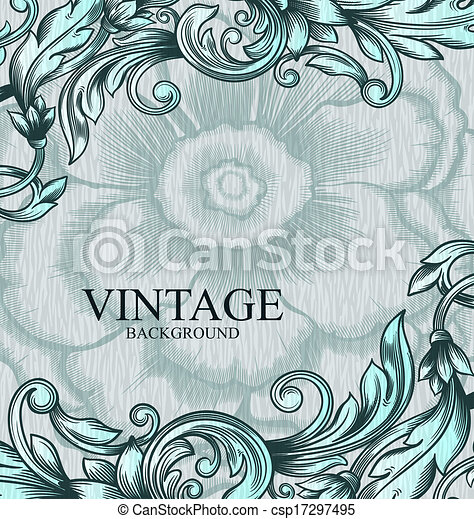 Vintage vector pattern. Hand drawn abstract background. Can be used for invitation, wedding card, scrapbooking and others. Royal vector design element. - csp17297495