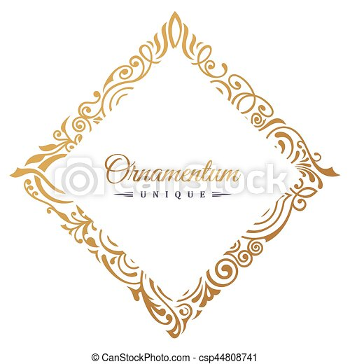Vintage vector retro blog frame. Set of artistic golden page with a logo design for your - csp44808741