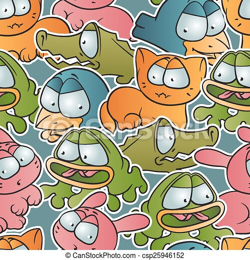 Vintage vector seamless pattern with cartoon animals - csp25946152