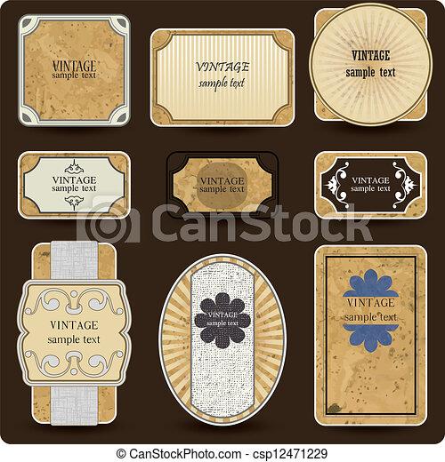Vintage vector set labels - csp12471229