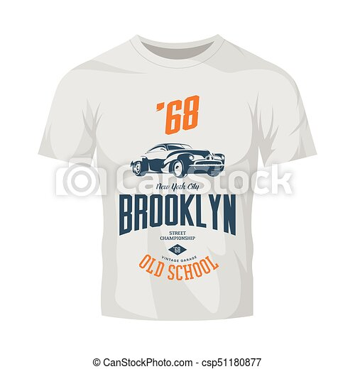 vintage vehicle vector logo isolated on white t shirt mock up