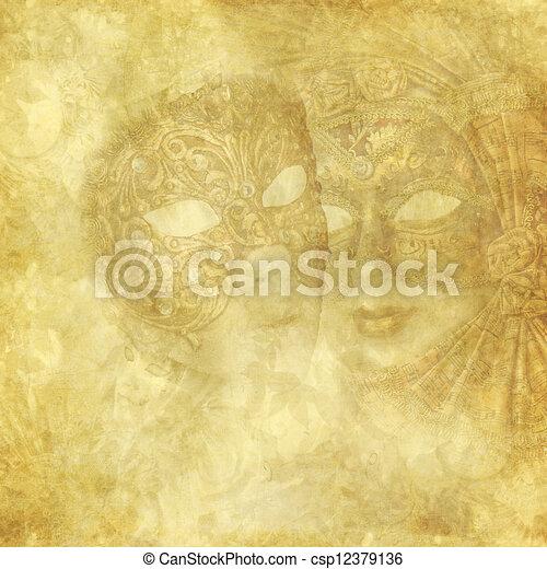 Vintage Venetian Masks on golden floral background - csp12379136