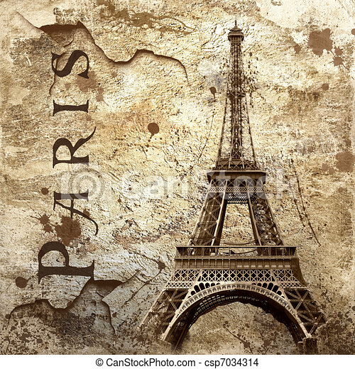 Vintage view of Paris on the grunge background - csp7034314