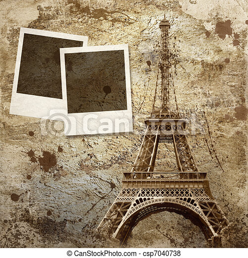 Vintage view of Paris on the grunge background - csp7040738
