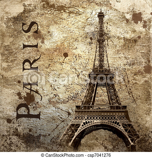Vintage view of Paris on the grunge background - csp7041276