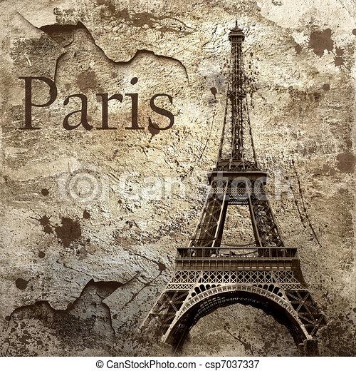 Vintage view of Paris on the grunge background - csp7037337