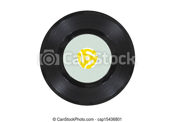 Vintage Vinyl Disk with Yellow Adapter - csp15436801
