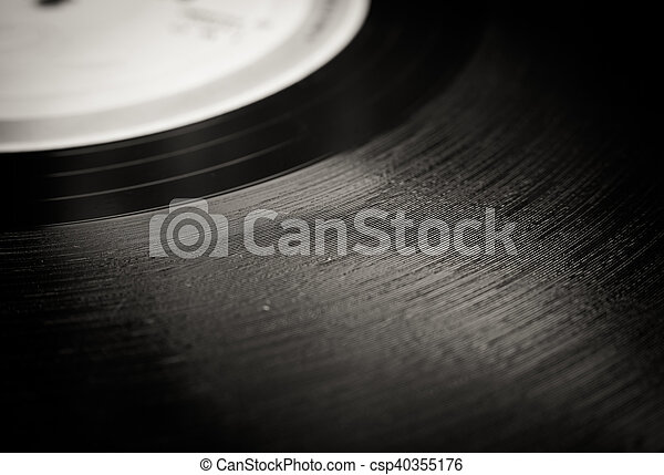 Vintage vinyl record groove close up