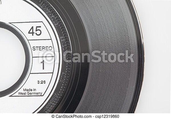 Vintage vinyl record isolated on white  - csp12319860