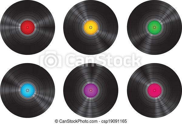 Vintage Vinyl Records Set Isolated - csp19091165