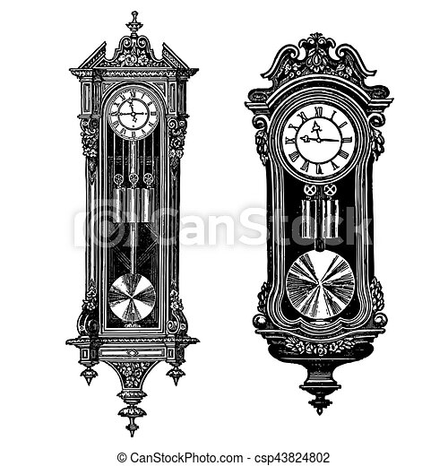 vector vintage wall clocks vector engraving set of two pieces