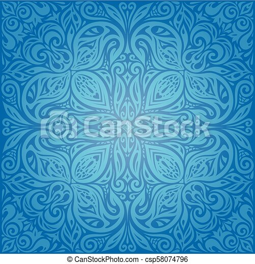 Vintage Wallpaper Background Mandala Design In Dark Blue