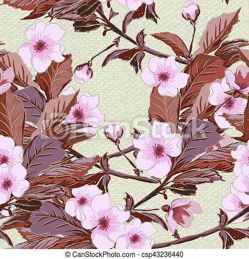 Vintage Wallpaper Seamless Pattern With Pink Japanese Cherry Blossom
