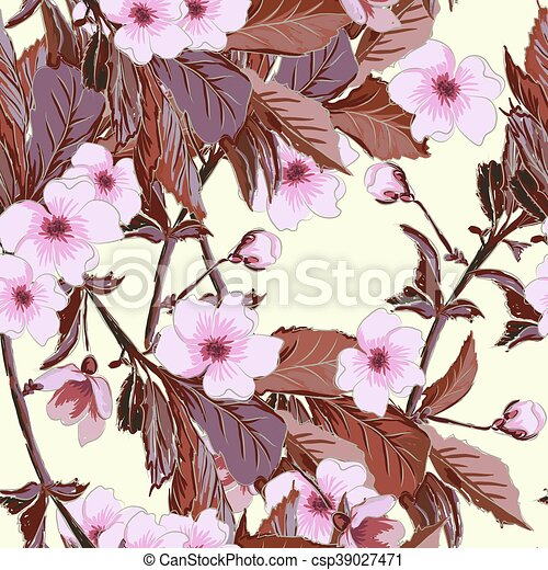 Vintage Wallpaper Seamless Pattern With Pink Japanese Cherry Blossom Cherry Branch Or China Roses Sakura Branch Can Be
