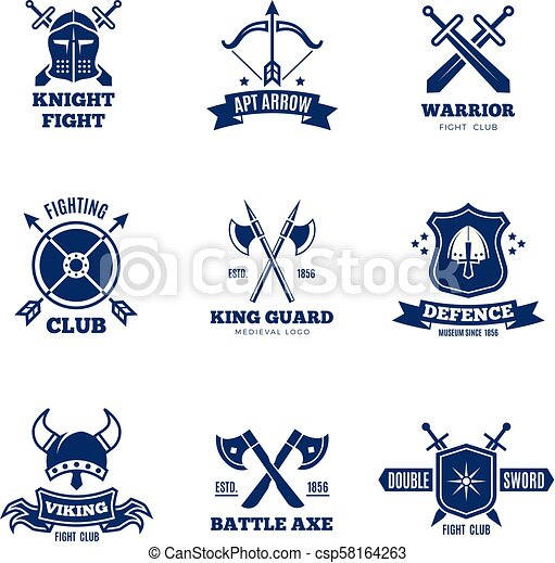 Vintage warrior sword and shield labels  Knight vector badges  Heraldry  coat of arms logos
