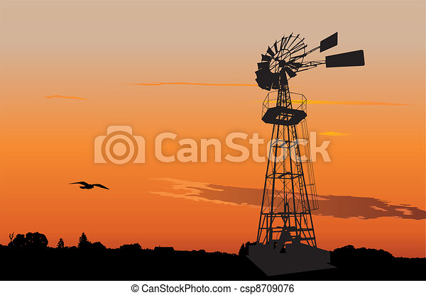 Vintage water pumping windmill - csp8709076