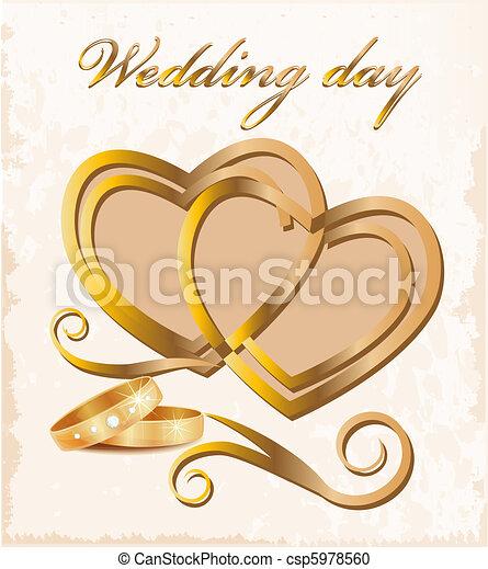 Vintage wedding card. - csp5978560