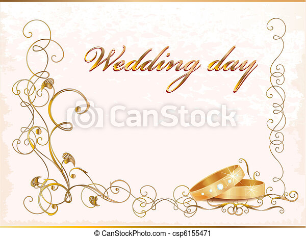 Vintage wedding card with rings. - csp6155471