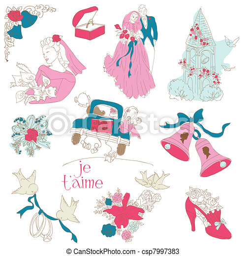 Vintage Wedding Design Elements - for Scrapbook, Invitation in vector - csp7997383