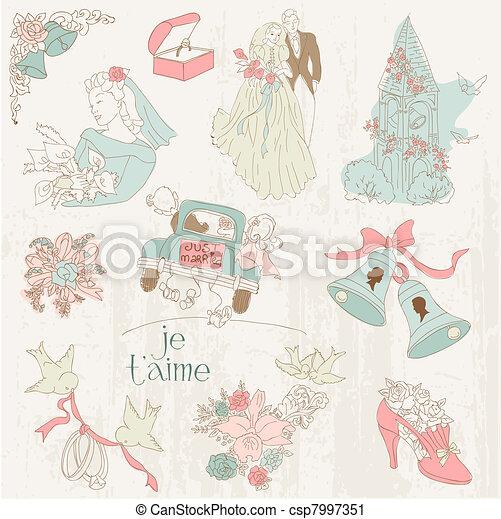 Vintage Wedding Design Elements - for Scrapbook, Invitation in vector - csp7997351