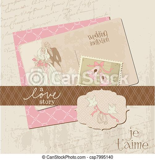 Vintage Wedding Design Elements - for Scrapbook, Invitation in vector - csp7995140