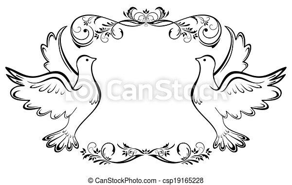 Vintage wedding frame - csp19165228