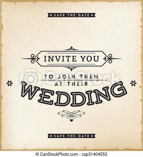 Vintage wedding invitation on old paper background clipart vector vintage wedding invitation csp31404553 stopboris Choice Image