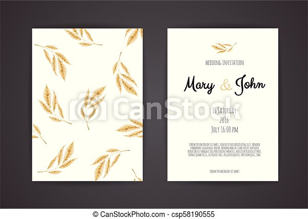 Vintage Wedding Invitation Templates Cover Design With Gold Leaves Ornaments