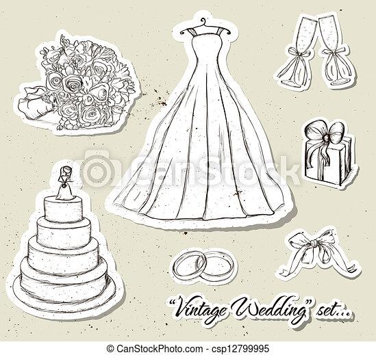Vintage wedding set. - csp12799995