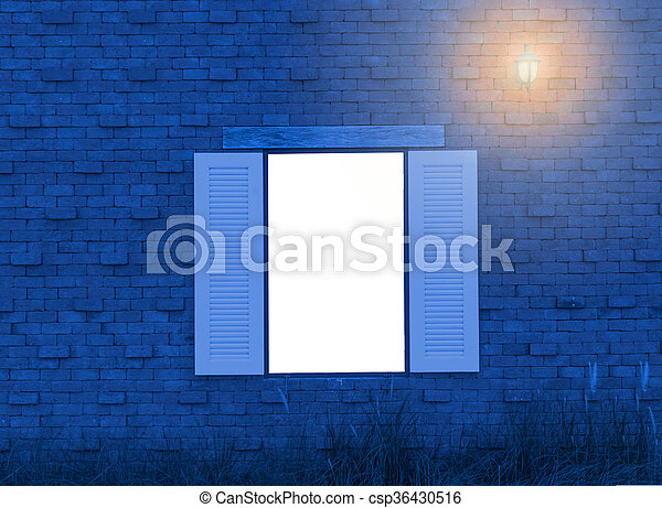 Vintage white wood window on red brick wall - csp36430516