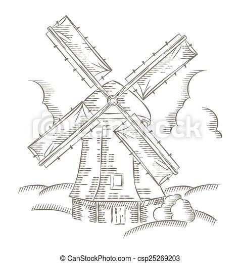 vintage windmill logo bakery design vector template hand drawn