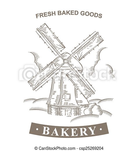 vintage windmill logo bakery design vector template hand drawn