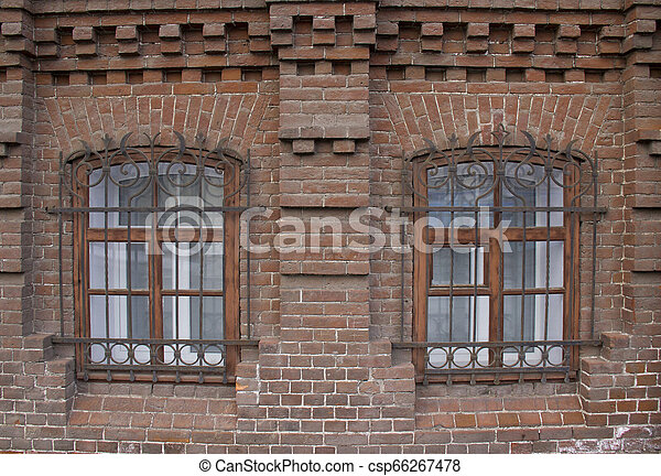 Vintage Windows in a brick house. - csp66267478