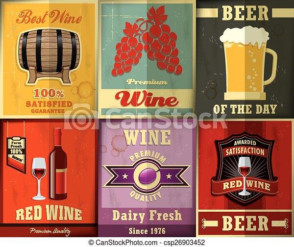 Vintage Wine Beer Poster Design S