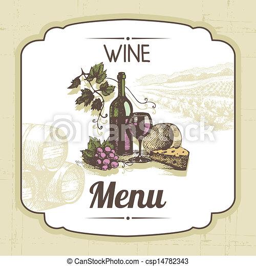 Vintage wine menu background. Hand drawn illustration - csp14782343