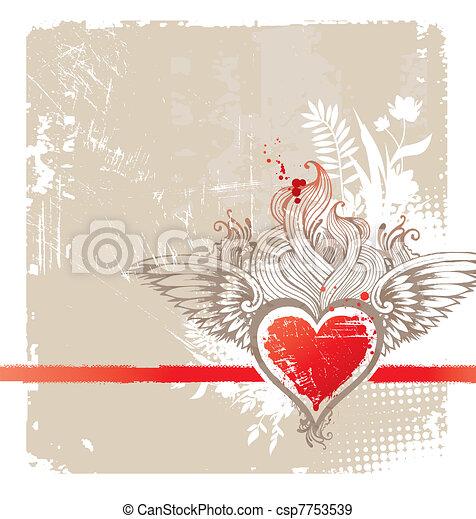 Vintage winged heart - vector illustration - csp7753539