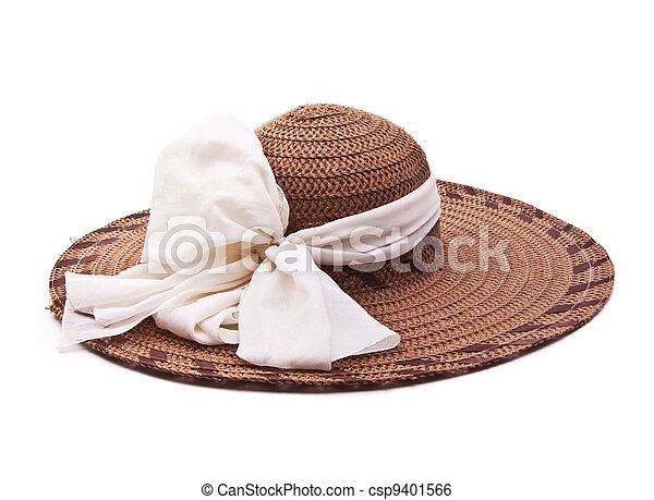 Vintage woman hat isolated on white background - csp9401566