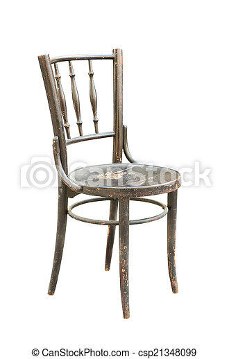 Vintage wood chair isolated on white - csp21348099