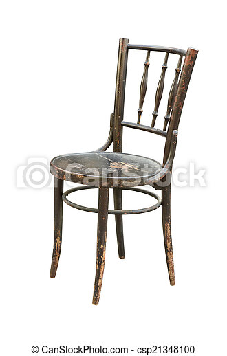 Vintage wood chair isolated on white - csp21348100