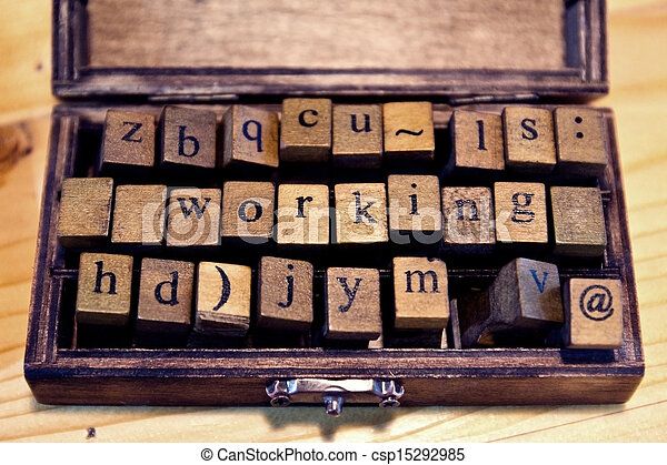 vintage wood letterpress types - csp15292985
