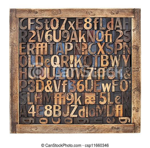 vintage wood type printing blocks - csp11660346