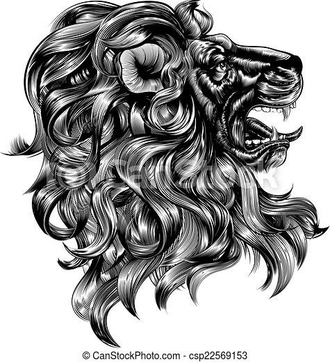 Vintage woodblock style lion - csp22569153